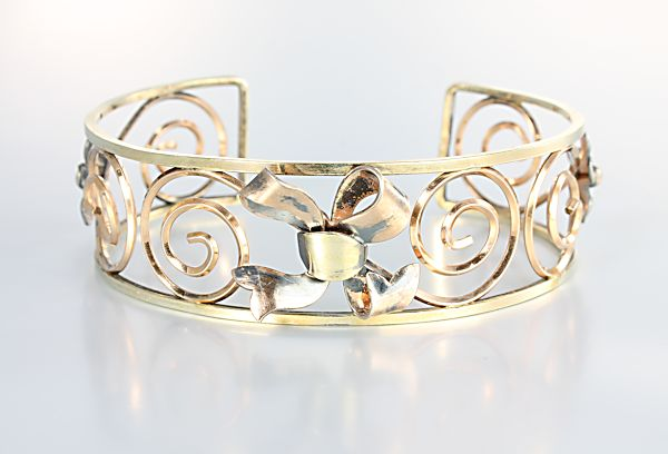 Krementz Cuff Bracelet bow forget me not gold filled