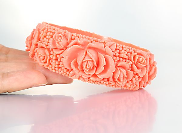 Coral Rose celluloid Bangle Bracelet 7.75 inches