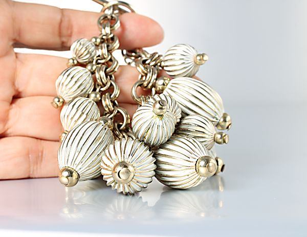 Vintage Fluted Bead Charm Bracelet 6 inch toggle clasp