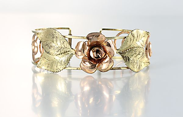 Krementz Rose Bracelet gold filled Cuff Bangle