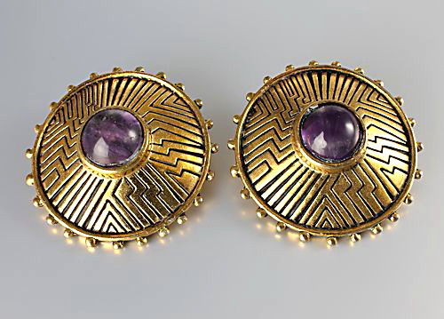 Laurel Burch Amethyst Southwestern Earrings