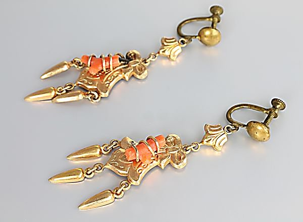 Victorian Branch Coral Earrings dangle screwback estate jewelry