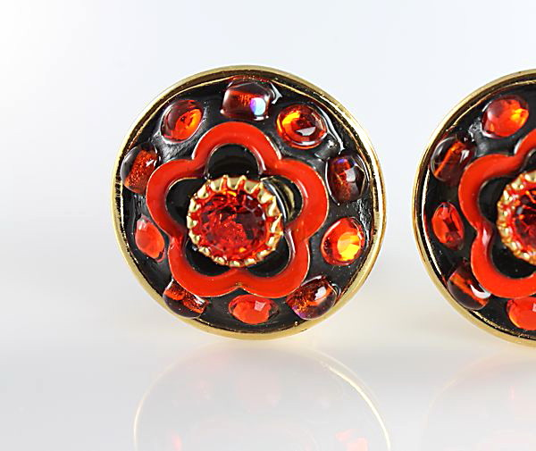Michal Golan Earrings clip bright orange