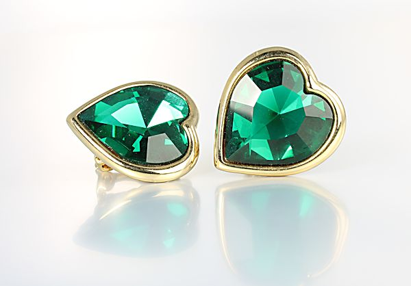 Emerald Heart crystal Earrings Fernando Originals FO Inc Bezel