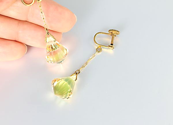 Art Deco crystal Briolette Earrings Chartreuse Peach