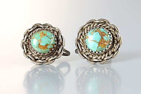 Royston Turquoise Navajo Earrings Sterling silver screw back