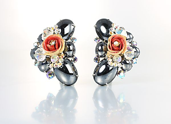Juliana D&E Hematite Earrings Aurora Borealis rhinestone crystal