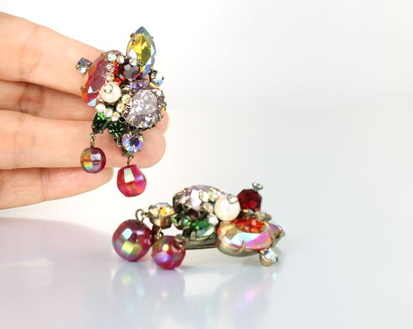 Fruit salad Rhinestone vintage Schreiner Earrings Large clip on