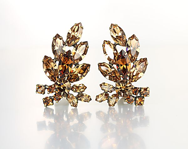 Vintage Topaz Rhinestone Earrings Juliana jewelry Earclimber