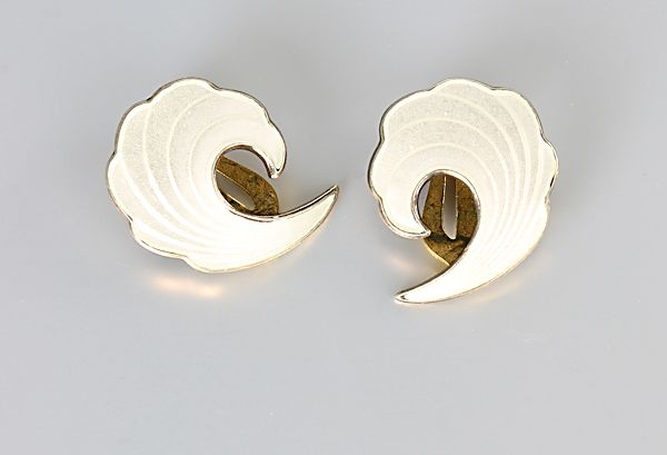 Norway White Enamel Earrings sterling silver Albert Scharning
