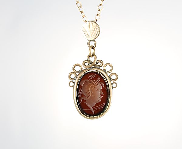Antique Victorian Intaglio Cameo Necklace gold filled