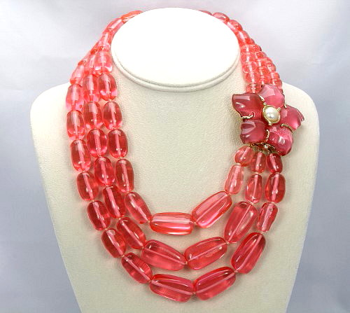 Replica signed Italy Bib Necklace Raspberry pink Lucite
