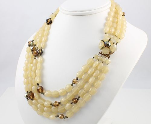 Vintage Western Germany Cream Lucite bib Necklace