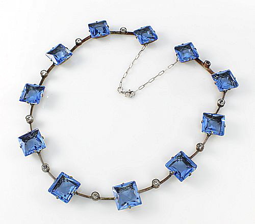 Art Deco silver Necklace open back Blue crystal