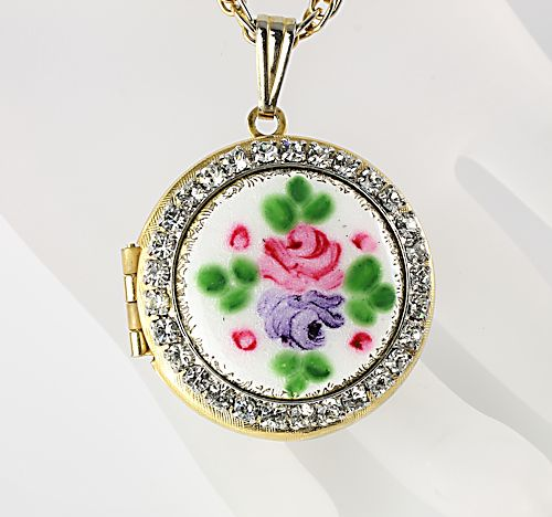 Guilloche enamel Locket Rhinestone Rose flowers