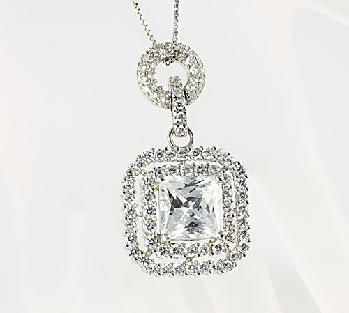 Art deco Sterling silver CZ Necklace Espo