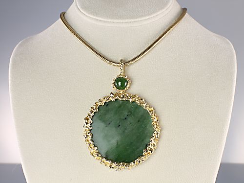 Swoboda jewelry Green Jade Necklace Mod 1960s