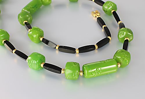 Vintage Givenchy Necklace Jade Onyx 1980s jewelry
