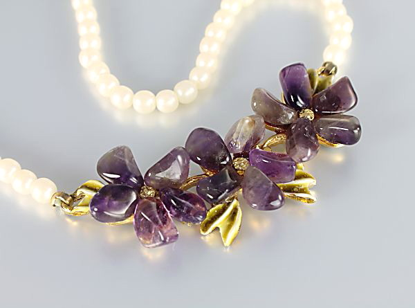 Vintage Swoboda Flower Necklace amethyst pearl