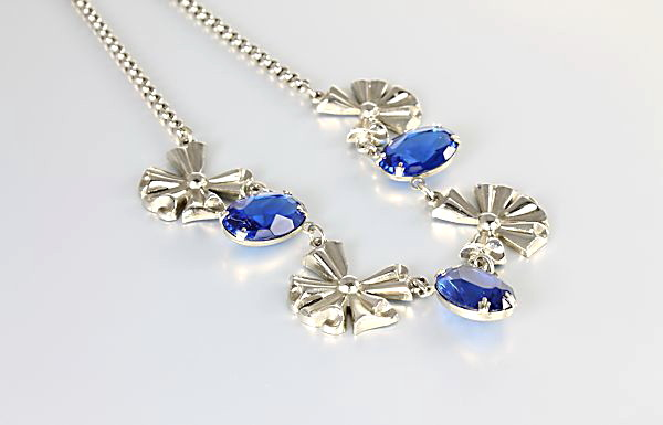 Art Deco Coro Necklace large blue glass stones