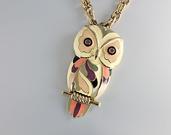 Eisenberg enamel Owl Necklace 1960s jewelry