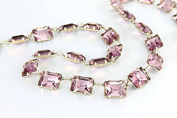 Art Deco Amethyst crystal Necklace Open back Stones