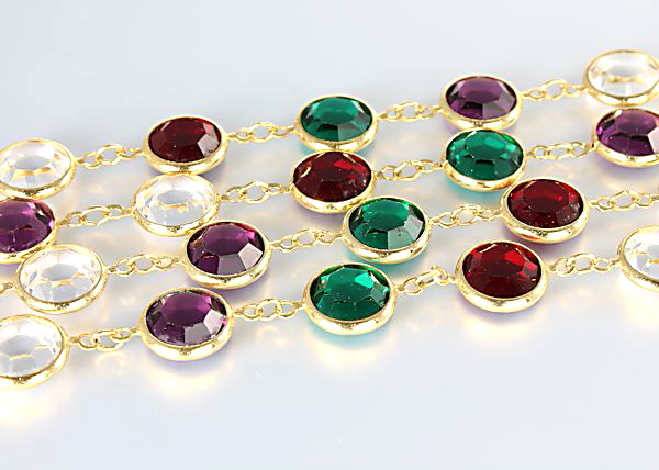 Swarovski Bezel crystal flapper Necklace 10mm stones multicolor