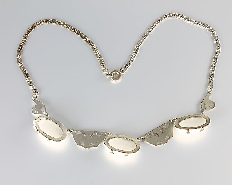 Art Deco carved Glass necklace White Enamel Lily of the Valley