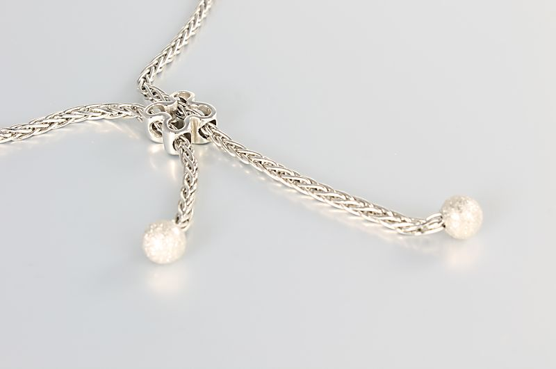 14k Solid White Gold Lariat necklace Quatrefoil Italy jewelry
