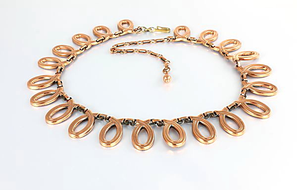 Renoir Copper Necklace Choker Loop links 1950s jewelry