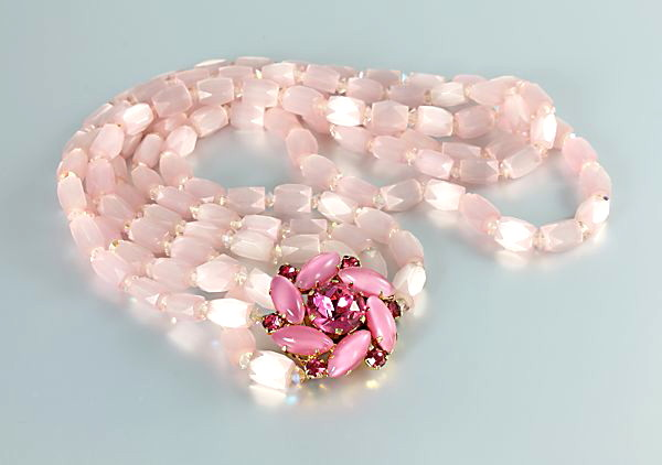 Juliana satin glass Necklace Pink rhinestone vintage Bib Czech