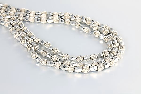 Crown Trifari Electra Necklace Three strand Bib silver bead