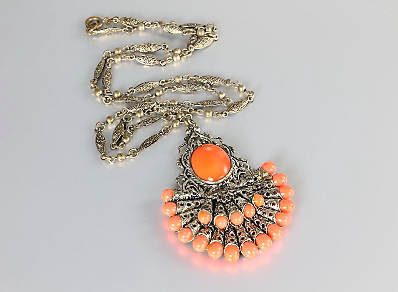 Art Deco Coral Necklace Antique Czech jewelry