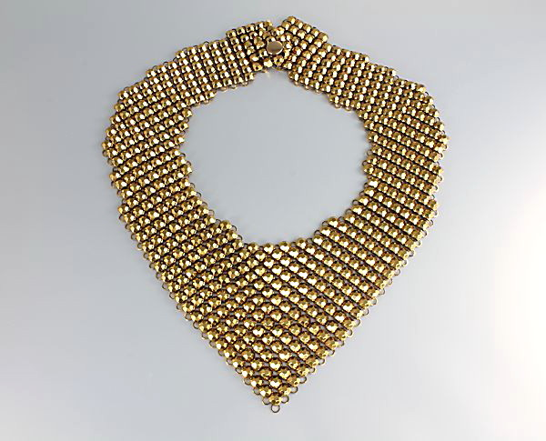 Vintage Faceted Gold Mesh Bib Necklace 1960s jewelry