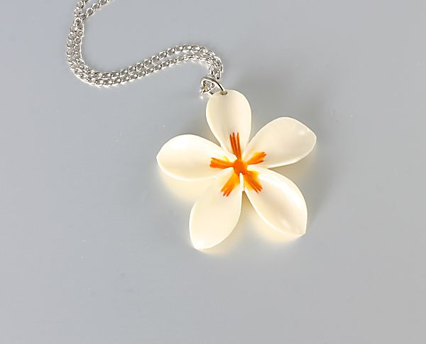 Carved Bone Plumeria Necklace sterling silver vintage jewelry
