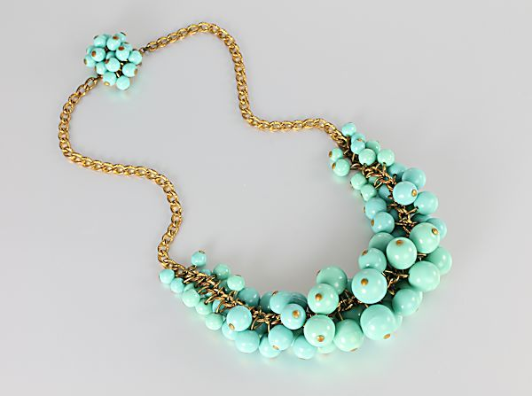 Art Deco Cluster Bead Necklace Blue turquoise glass 15 inch long