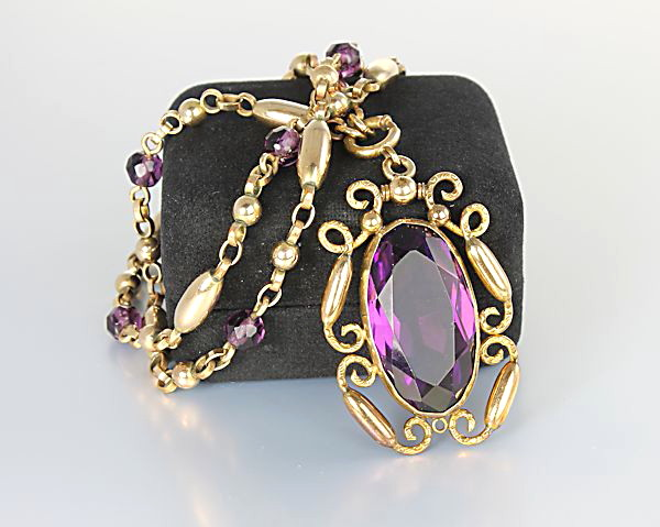 Art Deco amethyst glass Necklace antique Czech jewelry