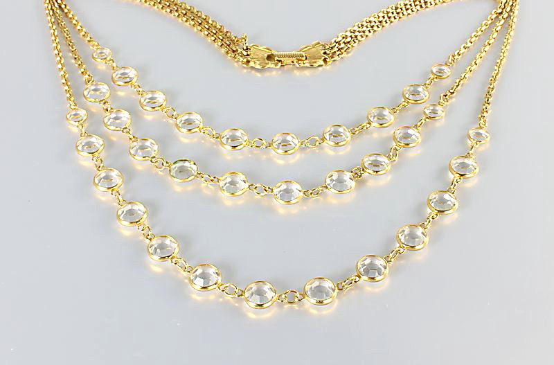 Goldette Crystal Necklace Open Bezel three strand Bib