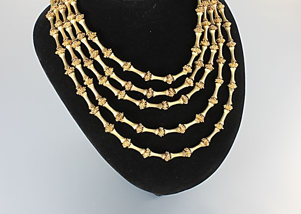 Vintage Trifari Bib Necklace five strand brushed gold bead