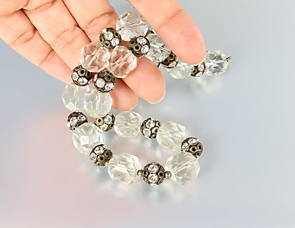 Art Deco Clear crystal Necklace rhinestone rondelle bridal