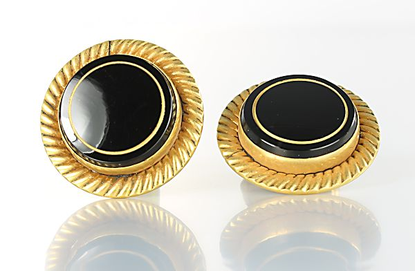 Destino Cufflinks Black Glass gold filled 1960s