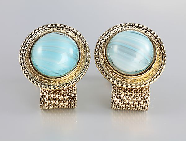Vintage Hickok Cufflinks wraparound Blue art glass