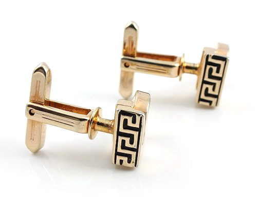 Vintage Hickok cufflinks Sigma Greek key gold tone