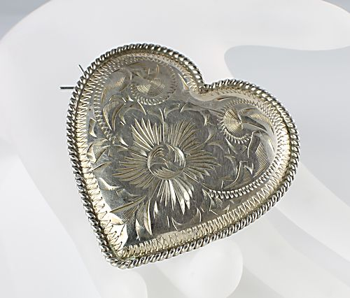 Mexico sterling Heart Barrette VOGT eagle mark 150