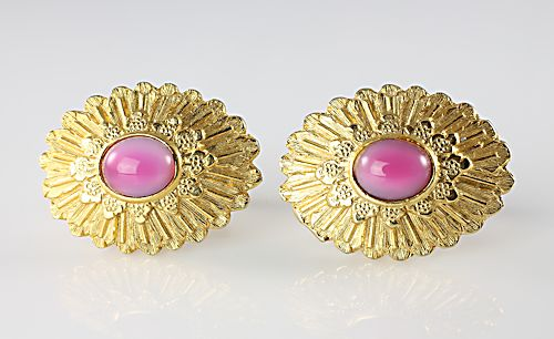 Vintage Avon Cufflinks Pink glass Moonglow cabochons