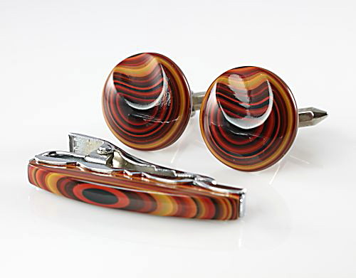 Striped Bakelite Oxford Cufflinks Tie Clip set