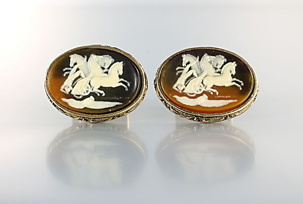 Greek Mythology Cufflinks Incolay Stone Man Horse Chariot