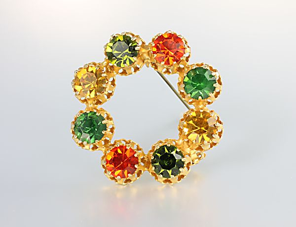 Austria signed jewelry Wreath Brooch orange green topaz