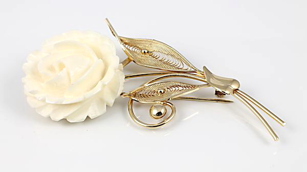 Carved bone Rose Brooch gold filled signed Sorrento