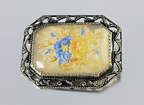 Intaglio glass Brooch Forget Me Not Pansy Reverse painted